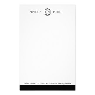 "Personalizable MONOGRAM 5.5"" x 8.5"" Stationary Personalized Stationery"