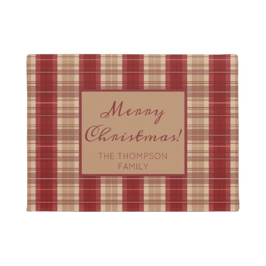 Personalizable Name Red And Beige Plaid Christmas Doormat