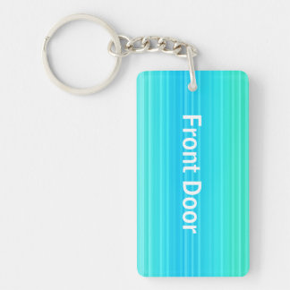 Personalizable Pastel Turquoise Blue Green Pattern Keychain