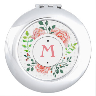 Personalizable Pink Floral Rose Compact Mirror