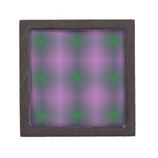 Personalizable Purple Green Hip Patterned Fractal Premium Keepsake Box