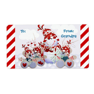 Personalizable Snowman Teddy Bear Christmas Tags