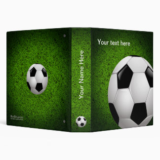 Personalizable Soccer | Football on green grass 3 Ring Binder