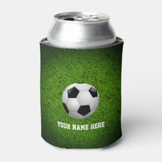 Personalizable Soccer   Football on green grass Can Cooler
