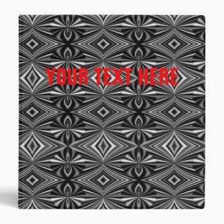 Personalizable Stylish Black White Silver Pattern 3 Ring Binder