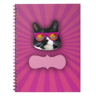 Personalizable Sunglasses Neon Cat Spiral Note Book