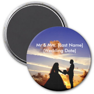 Personalizable Sunset Wedding 3 Inch Round Magnet