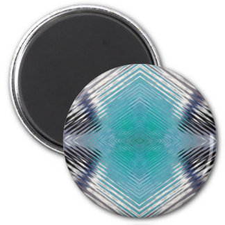 Personalizable Teal Black Optical Blur Illusion 2 Inch Round Magnet