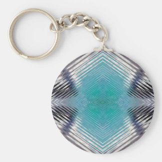 Personalizable Teal Black Optical Blur Illusion Basic Round Button Keychain