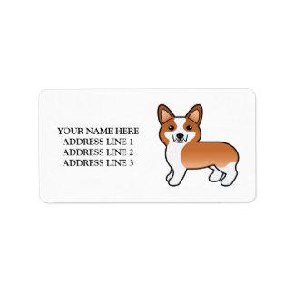 Personalizable Text & Red Welsh Corgi Pembroke Dog Label