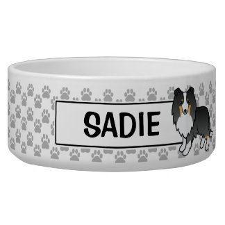 Personalizable Tricolor Sheltie Dog And Name