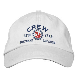 Personalizable YEAR and Names Crew Yacht Flag Embroidered Hat