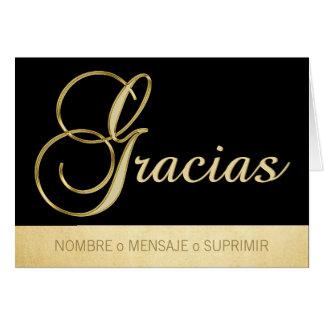 Personalizado elegante GRACIAS negro oro Card