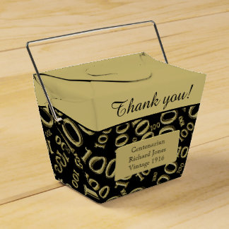 Personalize: 100th Birthday Centenarian Gold/Black Favor Boxes