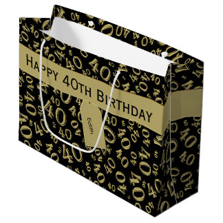 Personalize: 40th Birthday Gold/Black Theme Large Gift Bag