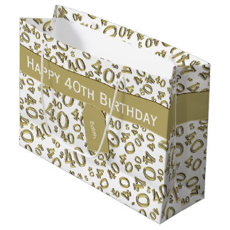 Personalize: 40th Birthday Gold/White Theme Large Gift Bag