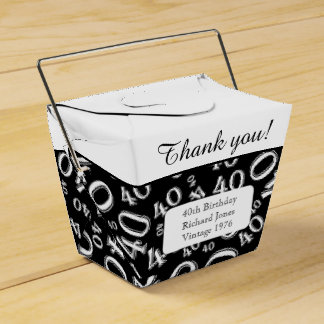 Personalize: 40th Birthday Party Black/White Favor Boxes