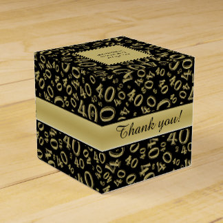 Personalize: 40th Birthday Party Gold/Black Favor Box