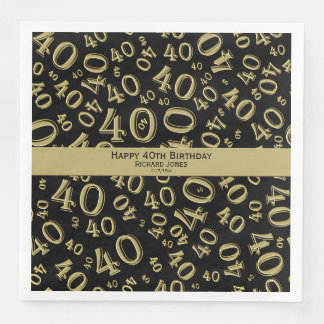 Personalize:  40th Black and Gold Birthday Party Paper Napkins