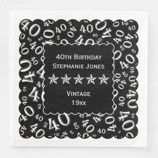 Personalize: 40th Gold/Black Birthday Scallops Paper Napkin