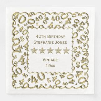 Personalize: 40th Gold/White Birthday Scallops Disposable Napkins