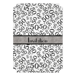 """Personalize: 50th Black and White Birthday Party 5"""" X 7"""" Invitation Card"""