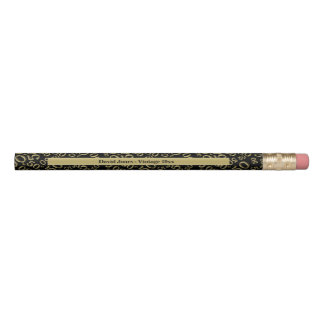 Personalize 50th Gold/Black Birthday Favor Gift Pencil