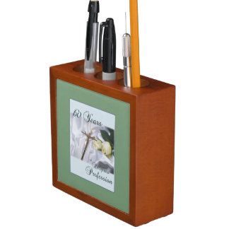 Personalize, 60 Years of Religious Profession Desk Organizer