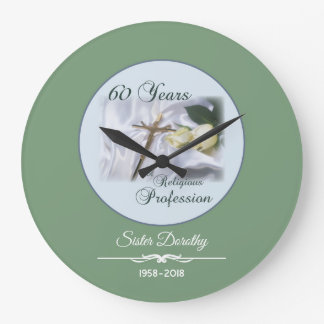 Personalize, 60 Years of Religious Profession Large Clock