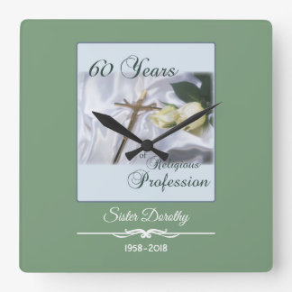 Personalize, 60 Years of Religious Profession Square Wall Clock