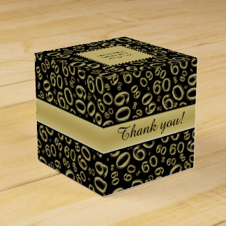 Personalize: 60th Birthday Party Gold/Black Favor Box