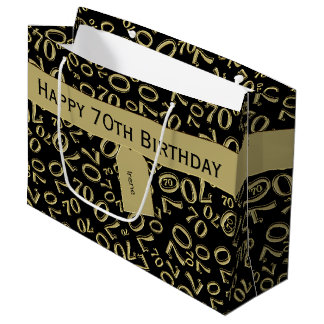 Personalize: 70th Birthday Gold/Black Theme Large Gift Bag