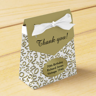Personalize: 70th Birthday Gold/white Favor Box