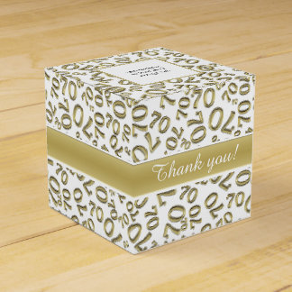 Personalize: 70th Birthday Party Gold/White Favor Box