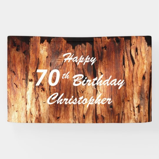 Personalize 70th Birthday Sign Faux Weathered Wood