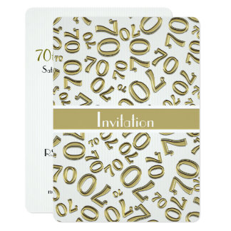 Personalize: 70th Gold and White Birthday Party Card