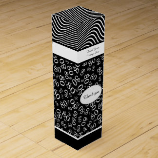 Personalize:  80th Birthday Black and White Theme Wine Gift Box