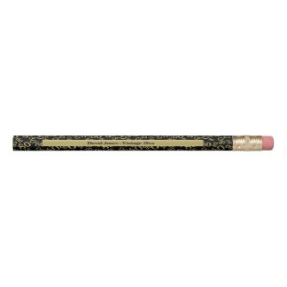 Personalize 80th Gold/Black Birthday Favor Gift Pencil