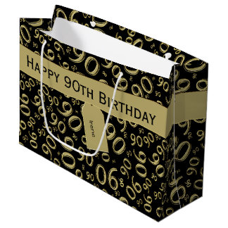 Personalize: 90th Birthday Gold/Black Theme Large Gift Bag