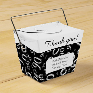 Personalize: 90th Birthday Party Gold/Black Favor Boxes