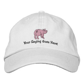 Personalize A Cute Little Pig with Your Text Embroidered Hat