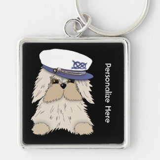 Personalize a Nautical Puppy in Captain's Hat Silver-Colored Square Keychain