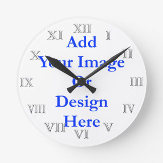 (Personalize)Add your touch. Silver Roman Numerals Round Clock