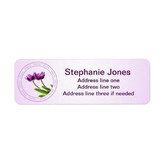 Personalize: Address Template Purple Tulips Photo