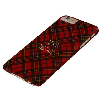 Personalize Adorable Red Christmas tartan pattern Barely There iPhone 6 Plus Case