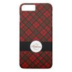 Personalize Adorable Trendy Red tartan Monogram iPhone 8 Plus/7 Plus Case