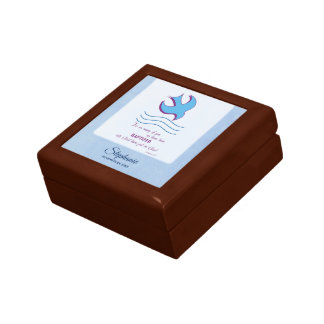 Personalize, Adult Baptism Dove on Blue Gift Box