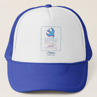 Personalize, Adult Baptism Dove on Blue Trucker Hat