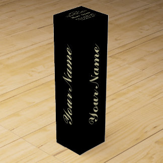 Personalize Aged To Perfection Black Wine Gift Box