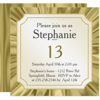 Personalize:   Any Occasion, Faux Gold Satin Look Card